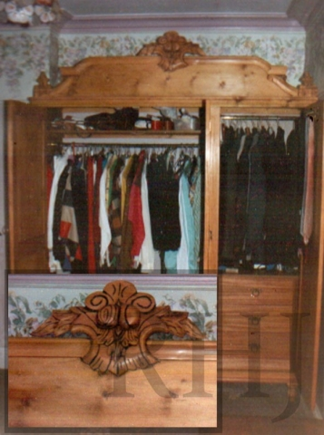 Fully bespoke wooden wardrobe with decorative carving