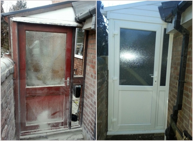 Exterior PVC door installation