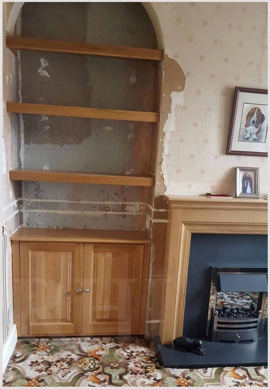 Wooden bookcase and storage cupboard