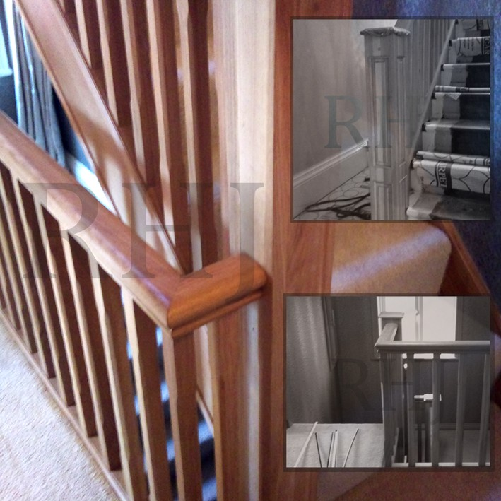 Wood stain finished bannister